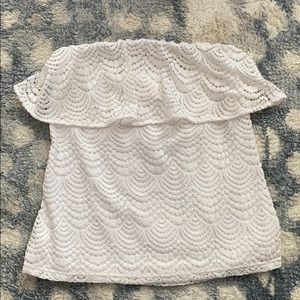 Lily Pulitzer White Lace Off Shoulder Top